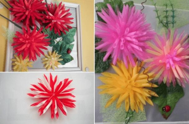 Gambar Bunga Dari Sedotan